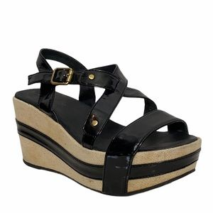 Antelope Black Patent Leather Platform Sandals 36
